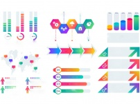 Chart Elements. Business Presentation Graph Layout, Corporate Report Timeline With Bars And Diagrams. Vector Financial Infographic Set